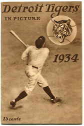 Rare 1934 Detroit Tigers In Picture Yearbook World Series Babe Ruth Cover