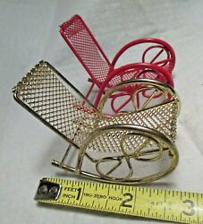 2 Dollhouse Miniature Furniture Metal Rocking Chairs Bentwood Rockers Brass Red