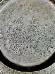 Antique Dutch Pewter Andldquowiggle Workandrdquo Charger - Dated Andldquo1760andrdquo