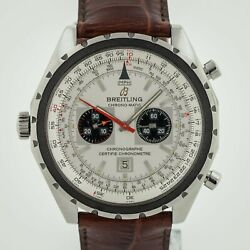 Breitling Chrono-matic Ref A41360 Menandrsquos Stainless Steel Silver Dial Leather