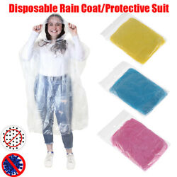10PCS Disposable Poncho Protective Suit Outdoor Hiking Emergency Rain Coat HOT