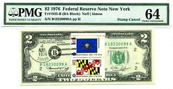 2 Dollars 1976 Stamp Cancel State New York Lucky Money Value 1976
