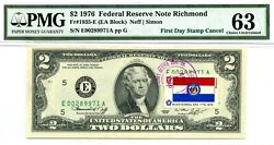 2 Dollars 1976 First Day Stamp Cancel State Flag From Missouri Value 1976