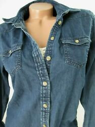 American Eagle Favorite Fit Med Denim Long Sleeve Shirt Button Down Blouse NWT