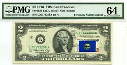 2 Dollars 1976 First Day Stamp Cancel State Flag From Nebraska Value 1976