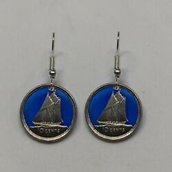 Canadian Dime Cut Coin Blue Epoxy Filled Earrings