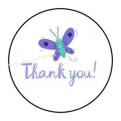 30 THANK YOU BUTTERFLY ENVELOPE SEALS LABELS STICKERS PARTY FAVORS 1.5quot; ROUND
