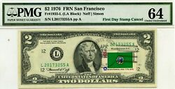2 Dollars 1976 First Day Stamp Cancel State Flag From Washington Value 1976