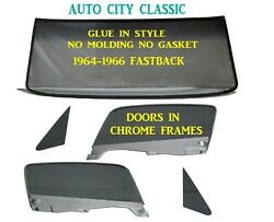 Glue In Windshield Grey Glass Package 1965 1966 Ford Mustang Fastback Vent Door