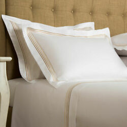 1780 Frette Hotel Cruise Queen 7pc Duvet Cover Sheet Set Beige Embroidery Italy