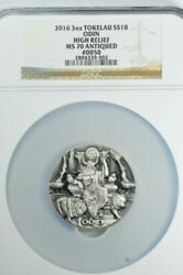 2016 3 Oz. Tokelau Silver 10 Odin High Relief Ngc Ms 70 Antiqued 50 .999 Ag