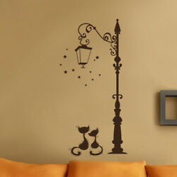 Wall Stickers Lovers Cat Street Light Black Cat Home Decor Living Room Removable