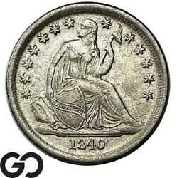 1840-o Seated Liberty Dime, No Drapery, Tough Au Better Date Collector Coin