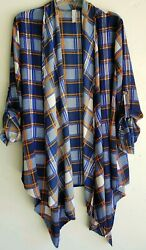 Primi Women's Open Front Shirt Blue Striped Lightweigt Top Cardigan Size Large
