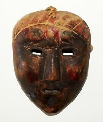 Antique South Asian Wooden Carved Folk Style Mask Fla