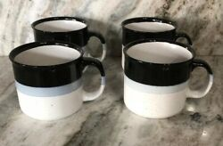 Soup Large Coffee Ice Cream Dessert Cereal Mug Bowl Cup-set Of 4-blk And White-new