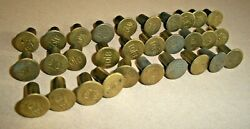30 Vintage Brass 1/2 Wide Flat Head Marked 10t8 Rivets Leather-crafts-plus More