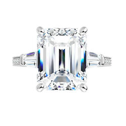2.25 Ct Moissanite Emerald Forever One Baguette Pave Solitaire Engagement Ring