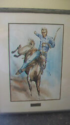 Original Jack Cannon Watercolor, Rodeo From 1971, Framed And Matted