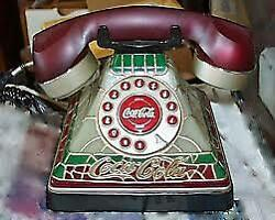 Vintage Stained Glass Look Coca Cola Coke Desk Phone Telephone Lights Up Nice