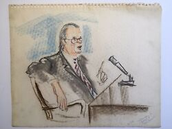 Original Watergate Courtroom Sketch Drawing Dr Richard Bolt By Pat Davies