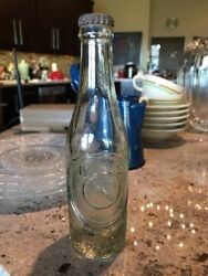 Original Rare Embossed Early Clear Glass Dr. Pepper Soda Bottle Los Angeles