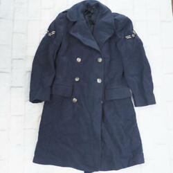 Vintage Usaf Air Force Pea Blue Wool Coat Trench Coat Military 37r W/ Patches