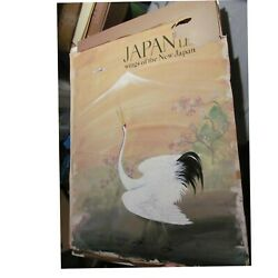 2 Japan Air Lines Hand Painted Travel Posters Crane Wings Of The New Japan