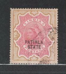 India Patiala State Qv. 1891-96, 2rs. Sg29 Used Stamp Rare.