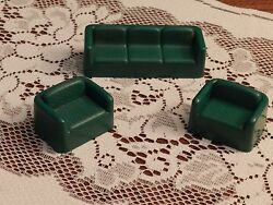 Arco Vintage Dollhouse Furniture - Green Couch And Two Chairs Living Room Set