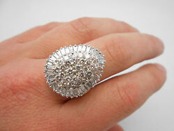 Wow Massive Vintage 14k Solid Gold 4.00ctw Diamond Cocktail Ring Size 7