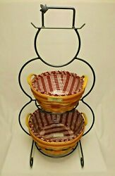 Longaberger Foundry Wrought Iron Snowman Stand And 1999 Popcorn And Pinecone Baskets