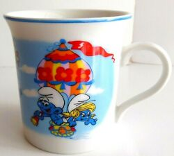 Smurf Mug Wallace Berrie And Co. Coffee Tea Cup 1982 Hot Air Balloon Smurfs 80s