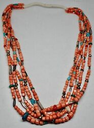 Southwest Vintage Silver Turquoise Coral Bead 5 Strand Squaw Wrap Necklace