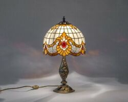 Style Bedside Lamp Classic Stained Glass Art Bespoke Glass Mosaic Lamp