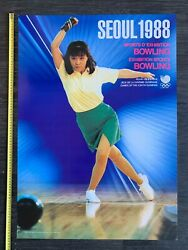 Seoul 1988 Olympic Games Bowling South Korea Vintage Poster