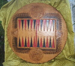 Rare Vintage Mexican Tooled Leather On Wood Round Backgammon Board With Sun Disc