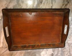 """Serving Tray Better Homes And Garden Rustic Wood Tray 13"""" X 20"""" X 2.5""""rare Vintage"""