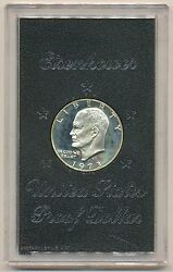 1973-s Silver Eisenhower Ike Dollar Proof Mint With Toning In Brown Box Toned