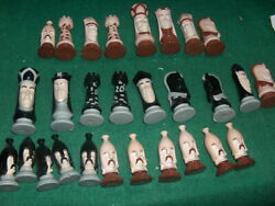 Chess Pieces Ceramic Porcelain Chess Set Hand Painted Sold Separately