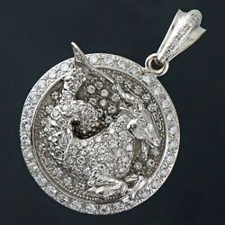 Massive Custom Solid 14K White Gold & 4.36 Ctw Pave Diamond Capricorn Pendant