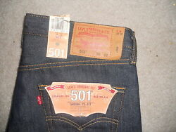 Levi's 501 Jeans Shrink To Fit Rigid 36x32 Button Fly Straight Leg Little E Nw