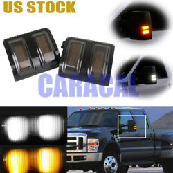 For Ford F250 F350 2008-16 Smoked Lens Led Side Mirror Marker Lights Switchback