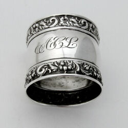 Floral Scroll Border Napkin Ring Webster Sterling Silver 1940 Mono Acl