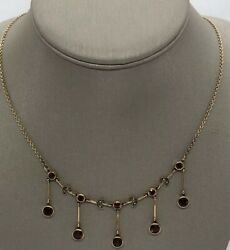 Antique 14k 585 Edwardian Solid Yellow Gold Garnet Seed Pearl Necklace