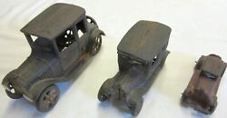 3-vintage Cast Iron Toy Cars- Model T Coupe, Model T Sedan And Ac Williams Coupe