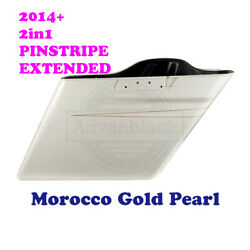 2-1 Morocco Gold Pearl Extend Saddlebag Pinstripe Fit 14+ Harley Street Electra