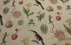 Animal and Botanical Novelty Print Upholstery Fabric. Multi Colored. Woven in UK