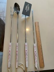 Vintage Mid Century 4 Long Handled Barbeque Cooking Tools Japan Euc