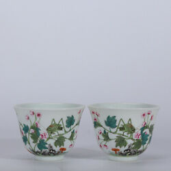3.3 Old Yongzheng Marked Famille Rose Porcelain Painting Cricket Flower Cup